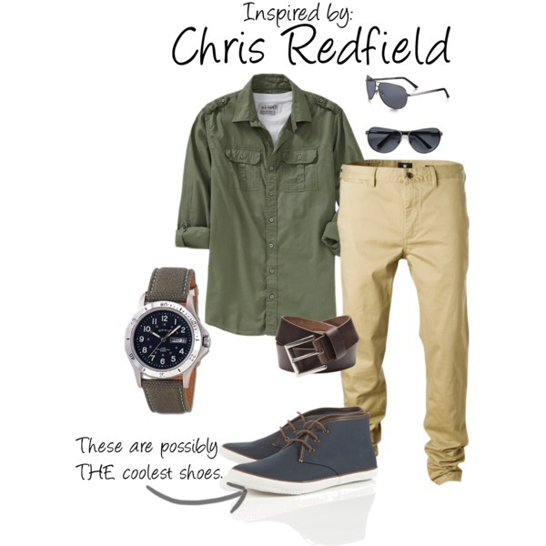 Chris Redfield (Resident Evil Series) by ladysnip3r featuring hi top shoes Finally, another guy outfit! This one is inspired by Chris Redfield from the Resident Evil series (this outfit in particular is more based on his look in RE5). I chose a neutral palette with military inspired pieces and possibly the coolest shoes I have ever seen. You could totally rock the necklace that came with the collectors edition of Resident Evil 5 with this outfit. (Reference Image)