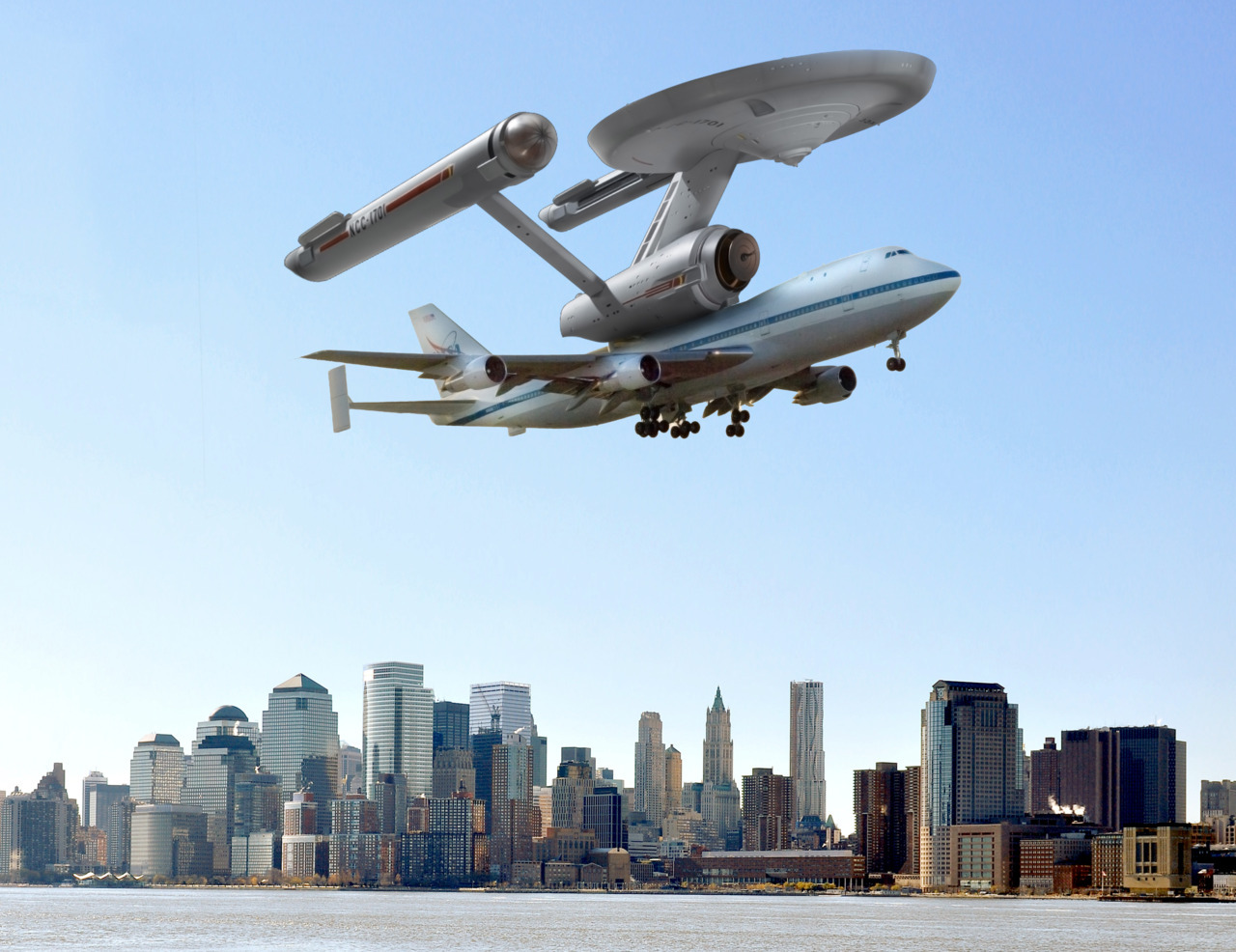 So long, Enterprise. Make it so. *Salute.  ex-genius:NEWS: Space Shuttle Enterprise completes historic flyover of New York City on the back of a modified 747 before delivery to the intrepid museum. This is totally an actual photograph of what actually happened.