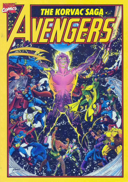 "The Korvac Saga This is the ""2001: A Space Odyssey"" of ""Avengers"" comics; a futuristic computer technician gains god-like cosmic awareness (seriously) and travels backward in time to reshape the Earth into his vision of a utopia. The Avengers team-up with futuristic cosmic heroes — and probably the next team to get a movie — the Guardians of the Galaxy for a consciousness-expanding battle of life, death, rebirth and more death. Recommended Reader: Infected with Avengers-Mania 'Avengers' comics crash-course from Moviefone"