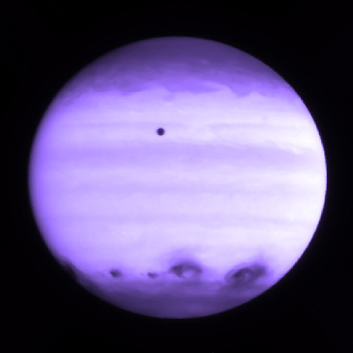 conduittothecosmos:  Jupiter in Ultraviolet Taken in 1994 by the Wide Field Camera of the Hubble Telescope, this image is in ultraviolet and shows the impacts of the Shoemaker-Levy 9 comet (southern hemisphere).