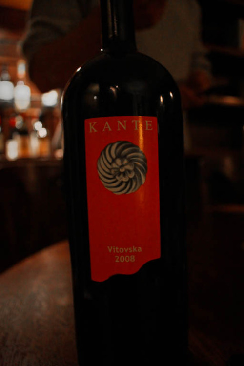 deliciously off beat white wine; Kante Vitovska 2008.