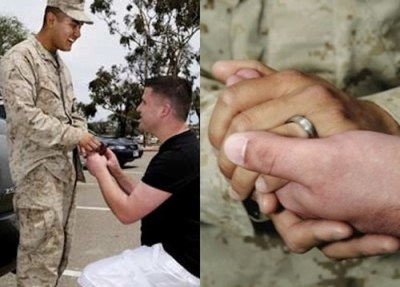 "thedailywhat:  Marriage Proposal of the Day: In what is believed to be the first proposal of marriage between two gay men — and war vets — on a U.S. military base, Navy vet Cory Huston asked Marine Avarice Guerrero to marry him Tuesday at Camp Pendleton in San Diego. Here's the story:  Under a bright Southern California sky at Camp Pendleton's Camp Del Mar near Oceanside, California, a full two hours before his boyfriend's return from the badlands of Afghanistan, Cory Huston waited nervously. Huston, who was discharged under the former Don't Ask Don't Tell policy, chain smoked as he rehearsed the simple proposal he would deliver when Guerrero would arrive. Finally, luggage in tow, Guerrero emerged with a smile on his face. Upon seeing Huston, Guerrero dropped his bags; aimed a kiss toward Huston's lips; and opened his arms to his boyfriends waiting embrace. The time and distance of 10 months' separation evaporated in a public show of affection that less than a year ago would have been cause for court martial. After a few minutes of emotional holding and kissing, Huston went anxiously down on one knee; looked up at Guerrero, who was dressed from head to toe in military fatigues; and produced an engagement ring and the time-honored phrase, ""Will you marry me?"" Huston's mild tremble, a result of hours and days of anticipation about this day, was quickly quieted by the one word every hopeful fiancé wants to hear: ""Yes.""  [hypervocal]"