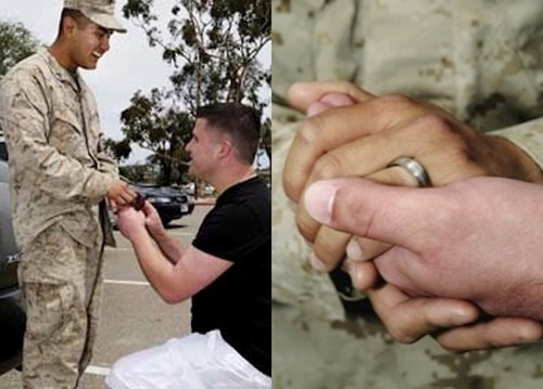 "thedailywhat:  Marriage Proposal of the Day: In what is believed to be the first proposal of marriage between two gay men — and war vets — on a U.S. military base, Navy vet Cory Huston asked Marine Avarice Guerrero to marry him Tuesday at Camp Pendleton in San Diego. Here's the story:  Under a bright Southern California sky at Camp Pendleton's Camp Del Mar near Oceanside, California, a full two hours before his boyfriend's return from the badlands of Afghanistan, Cory Huston waited nervously. Huston, who was discharged under the former Don't Ask Don't Tell policy, chain smoked as he rehearsed the simple proposal he would deliver when Guerrero would arrive. Finally, luggage in tow, Guerrero emerged with a smile on his face. Upon seeing Huston, Guerrero dropped his bags; aimed a kiss toward Huston's lips; and opened his arms to his boyfriends waiting embrace. The time and distance of 10 months' separation evaporated in a public show of affection that less than a year ago would have been cause for court martial. After a few minutes of emotional holding and kissing, Huston went anxiously down on one knee; looked up at Guerrero, who was dressed from head to toe in military fatigues; and produced an engagement ring and the time-honored phrase, ""Will you marry me?"" Huston's mild tremble, a result of hours and days of anticipation about this day, was quickly quieted by the one word every hopeful fiancé wants to hear: ""Yes.""  [hypervocal]  Fuck yeah."