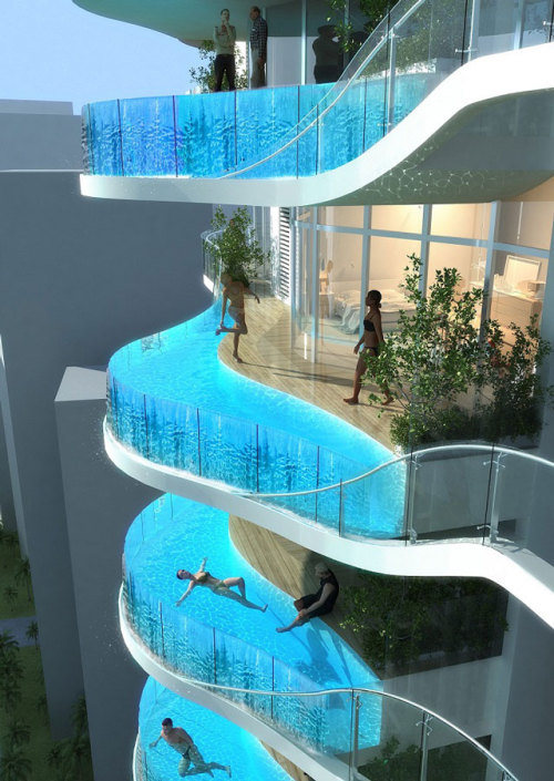 laughingsquid:  Glass Balcony Pools for Indian Luxury Condo Building