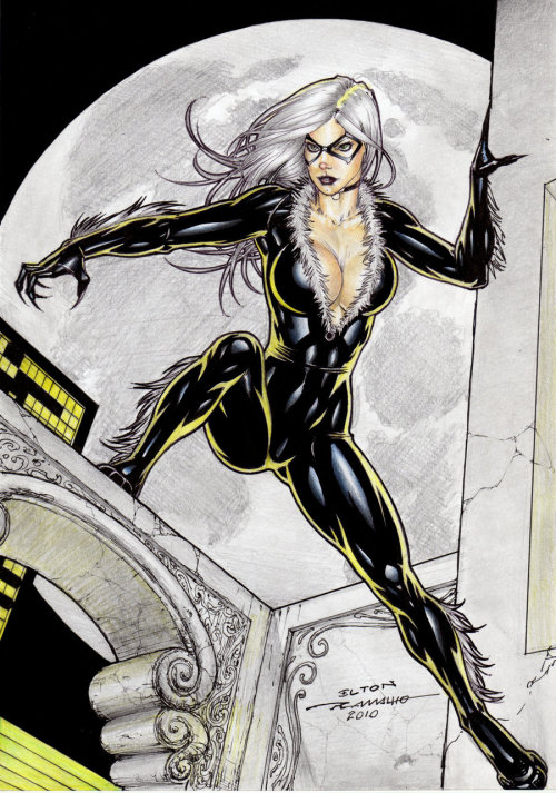 Another amazing Black Cat from Elton Ramalho - Commissions available at  http://www.comicbookquest.com/original-comic-art-by-elton-ramalho/