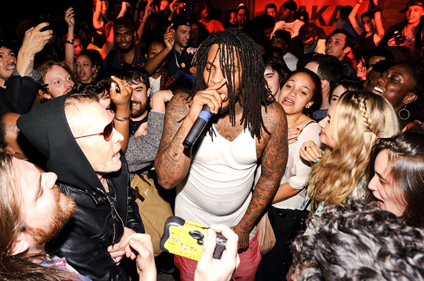 April 25: Rapper Waka Flocka Flame gets the crowd pumpin' during the SPIN May/June issue release party in New York City.