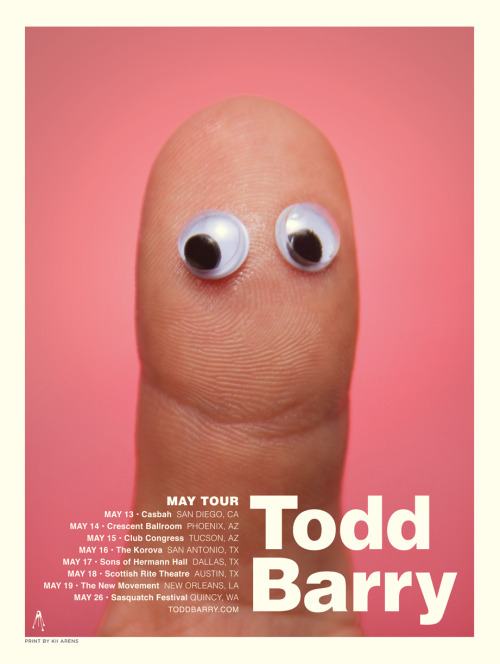 jonahray:  this is a great poster for @ToddBarry's upcoming tour By Kii Arens. Tickets for all shows here. (via toddbarry )