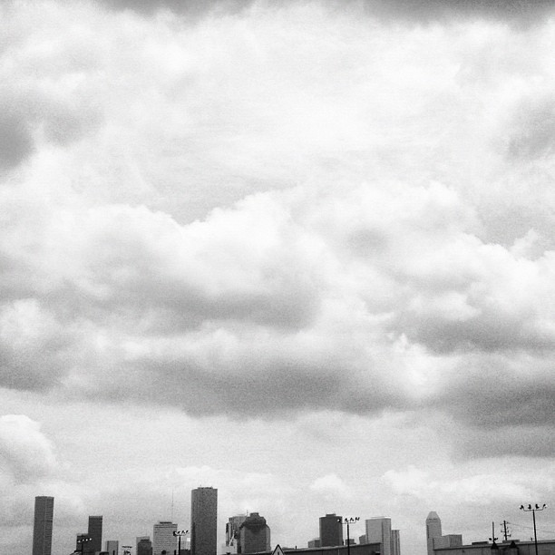 Cloudy day over Houston. #houston #skyline (Taken with instagram)