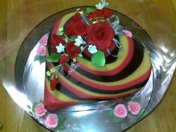 Rainbow Marble Pudding with Gumpaste Roses (Red)