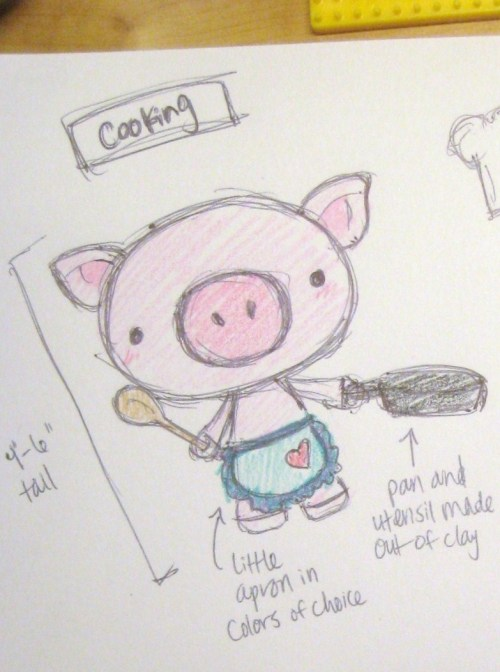 April 29, 2012. PIGGIES!!! :D  I quickly sketched a bunch of designs for a friend's mom who's looking to buy a very special birthday gift for someone, and she's decided to go with a little baker!  Cute, right?!  I'll be adding a tiny bow on the piglet's head, but I haven't decided on the color scheme for the bow and apron yet.  Now I'm also on the hunt for yarn colors that will work for this crochet project! :D Initially, my friend's mom wanted a cooking-themed pig, but then told me that she actually prefers baking, so I need to think of little baking utensils to make… and maybe a cake or something?  I'm excited to try making these things out of polymer clay! :P  There are so many beautiful miniatures out there — I envy those artists' talent. Any ideas for cute miniature utensils or baked goods?