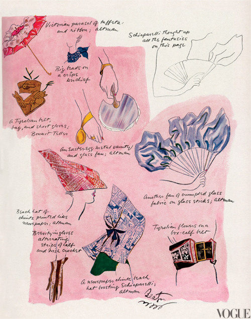 "vogue:  NOSTALGIA: Fantasies of Designer Elsa Schiaparelli—Including a Fan of Crumpled Glass and Newspaper-Print Chintz Hats—Illustrated by Cecil Beaton in 1935Learn more about the Costume Institute's upcoming exhibition at the Metropolitan Museum of Art ""Schiaparelli and Prada: Impossible Conversations"" on Vogue.com."