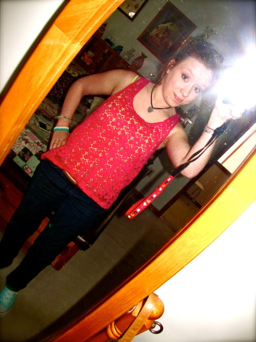 Completely obsessed with my new high-low lace tank. <3