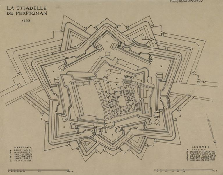 1723 map of the citadel of Perpignan
