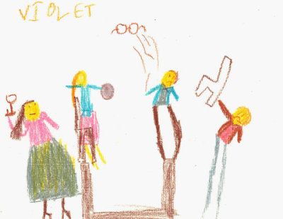 Kids Draw the News Drawing by Violet Newman, age 7, Brooklyn. via NY Times:  We are excited to announce the debut of a new feature on City Room today: Kids Draw the News, in which we ask the children in the audience to render a current event in pictorial form. Today's assignment: The spectacular brawl in the Tap Room of the New York Athletic Club. Please have your children-artists read the article or read/summarize it for them. Talking points: fancy restaurant/bar, men and women dressed up, people punching each other, throwing glasses, overturning tables, arrests. (I took the liberty this morning of asking my daughter to provide the example above.)  FJP: This will be interesting. I think I'd prefer the drawings that kids come up with on their interpretation, when their parents don't summarize the story.—Jihii