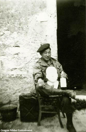 Toshiaki Kuge, 442nd RCT At the rear aid station, Mt. Altissimo, April 1945. Dr. Kuge was a member of the all-Nisei 44nd Regimental Combat Team during World War II.