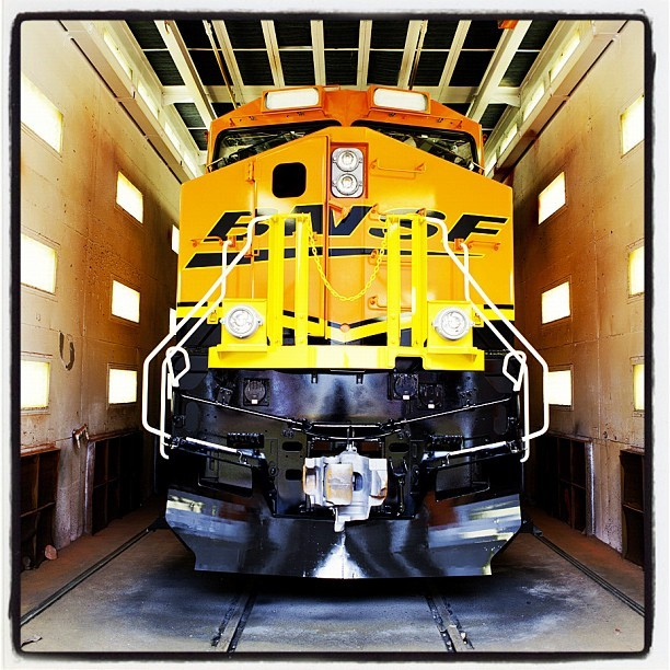 A painted #BNSF Evolution Series #locomotive at #GE #Transportation in Erie, PA. #manufacturing #technology #trains (Taken with instagram)