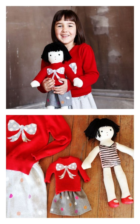 DIY Make a Mini Twin Plush Doll. I remember my Grandmother sewing mini versions of my clothing for my dolls. Did you know you could buy blank dolls at Hobby Lobby? I didn't. Tutorial at A Beautiful Mess here. *See also DIY Stuffed Doll from Child's Drawing here.