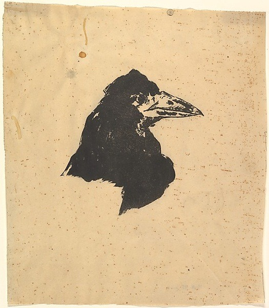 "The art: Edouard Manet, Design for the poster and cover of The Raven by Edgar Allan Poe, translated/published by Stephane Mallarme, 1875. The news: ""Pop Culture's Undying Edgar Allan Poe Obsession,"" by Scott Meslow for TheAtlantic.com. The source: Collection of the Metropolitan Museum of Art, New York. Click here for more from Manet's 'The Raven.'"