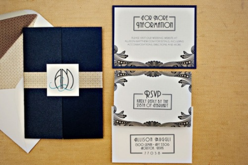 modern-wedding-thoughts:  Art deco wedding stationary!