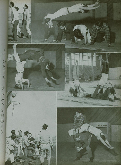 1945 Hunt High School yearbook page A few sports snapshots, featuring outdoor basketball and tumbling in the gymnasium. The yearbook notes that the gymnasium was unfinished and unable to host any basketball activities, but the students were able to reconstruct a hoop outdoors.