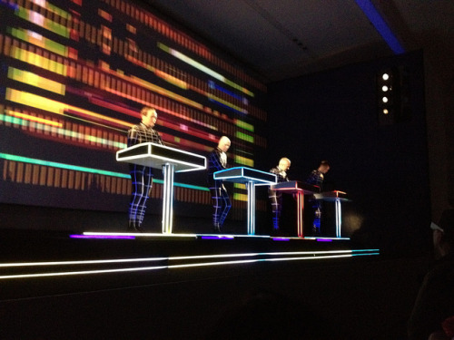 "Kraftwerk at MoMA, 4/14/12, a set on Flickr. A couple of weeks ago Kraftwerk performed at MoMA as part of ""Kraftwerk – Retrospective 1 2 3 4 5 6 7 8"".  After all my friends who attempted to get tickets failed, both Charles and I won pairs of tickets through a contest Volkswagen sponsored (they also sponsored the event).  We got to go two of the eight nights - the second night when Kraftwerk performed songs from Autobahn and the fifth night when they performed songs from Computer World.  It was awesome to be able to see them twice, especially since the first night I was in a horrible mood right before I arrived which undoubtedly had some effect on my perception of the show. I enjoyed it and thought some parts of the show were great, but was not blown away. I wouldn't have recommended it as something one MUST experience immediately, but rather something any lover of electronic music should see at least once before they die.  That was my view before night five.   Despite playing similar sets which spanned Kraftwerk's discography in addition to the featured album both nights, Autobahn is much more mellow than Computer World and made for a much tamer evening overall.  While both performances began on more upbeat notes (with ""Robots"" on night one and ""Numbers"" on night five), night five's momentum built with tracks from Computer World whereas night one slowed almost immediately as it moved to tracks from Autobahn.  Night five's performance was met with an equally energetic crowd, that had me reminiscing about good times in Montreal (where people actually dance) and awestruck at how a 65 year-old man (Ralf Hütter, the only original member currently in Kraftwerk) was wowing a room full of people in a museum with tracks that were over 30 years old. It was one of the best nights out I've had in a while and were I still blogging,  would undoubtedly make it into my ""Best Of"" for the year.  The week following that Saturday I was more excited about music (or anything for that matter) than I had been in a while and was reading and reading about Kraftwerk (check out Talking to Ralf Hütter of Kraftwerk).  I'm in the midst of a full-on search for Kraftwerk vinyl, just started reading a book about them, and am excited to have a new band to geek out about. Kraftwerk Setlist (Night 5 - Computer World) Numbers Computer World Pocket Calculator Taschenrechner Computer Love Home Computer Autobahn Radioactivity Trans-Europe Express The Robots The Model The Man-Machine Spacelab Tour De France 1983 Tour De France 2003 Aéro Dynamik Planet Of Visions Boing Boom Tschak Techno Pop Musique Non Stop Kraftwerk Setlist (Night 1 - Autobahn) The Robots AutobahnKometenmelodie 1 & 2Mitternacht / MorgenspaziergangRadioactivityTrans-Europe ExpressThe ModelMan-Machine Numbers / Computer WorldComputer Love (The Mix version)Home Computer (The Mix version)Tour de France / AerodynamikExpo 2000Boing Boom Tschak Techno Pop Musique Non Stop"