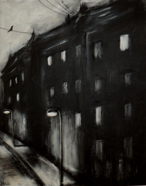 Anka Pospiech. Black City, 2011. Acrylic on canvas, 50 x 40 x 4 cm.