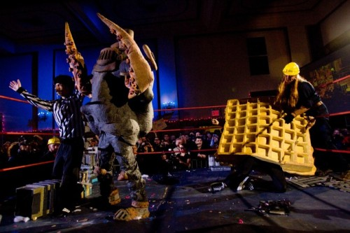 "Godzilla's Got Nothing on Live Monster Wrestling Holy Moley!! This looks like the most wonderful thing ever in the history of ever. Must see live. What is it? From the article (which you should immediately click on the Source link and jump through to read):  ""Kaiju Big Battel is a modern conflict of epic proportions,"" reads theofficial Kaiju site. ""Evil villains, menacing alien beasts, and giant, city-crushing monsters threaten to destroy the planet Earth. Who will save the helpless humans from total ruin?"""