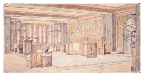 Living area in C. Thaxter Shaw House (1906), Montreal, Canada. Demolished in 1971.  © Frank Lloyd Wright Foundation, Scottsdale, Arizona
