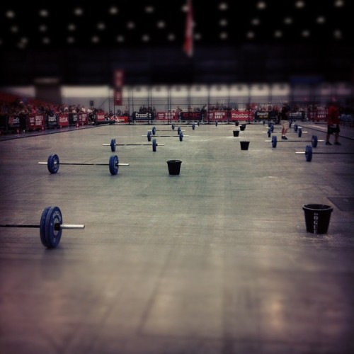 Day 1, Event 2: 2K Row + 50 Pistols + 25 Hang cleans @ #225 (Taken with instagram)