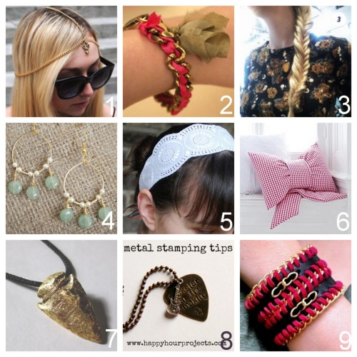 Roundup Nine DIY Jewelry and Fashion Tutorials PART TWO. Roundup of this past week in case you missed anything. April 22nd - April 28th, 2012. DIY Summer Chain Headpiece with Charm (Minkette for M&J Trimming) here. DIY Isabel Marant Inspired Summertime Brass and Silk Tassel Bracelet (Stripes + Sequins) here. DIY Fishtail Braid (Wit & Delight) here. via littlecraziness DIY Jade Green & Gold Chandelier Earrings with detailed wire wrapping dropped bead tutorial (Fab You Bliss) here. via kraftykristin DIY Ribbon and Eyelet Headband (Wild Olive) here. DIY Gorgeous Bow Pillow - well, fashion for your house (Heart Handmade translation of ariadne at home) here. DIY Gold Leaf Arrowhead Pendant Necklace (Thanks, I Made It) here. DIY Jewelry Stamping (Happy Hour Projects) here. DIY Leather, Suede and Chain Bracelet (The Silly Pearl) here.