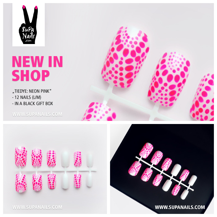 "Supa Nails ""Tiedye: Neon Pink"" New in Shop - Set of 12 artificial designer nails - comes in a black gift boxwww.supanails.com/shop"
