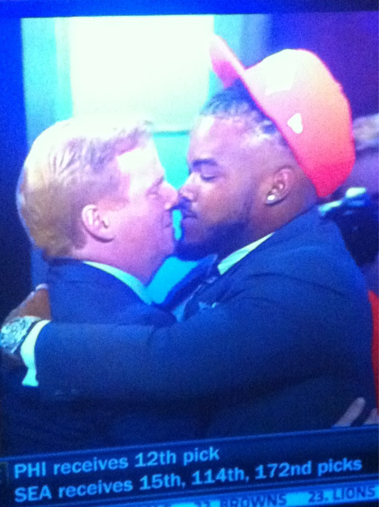 Commissioner Roger Goodell getting up-close-and-personal with NFL Draft picks.