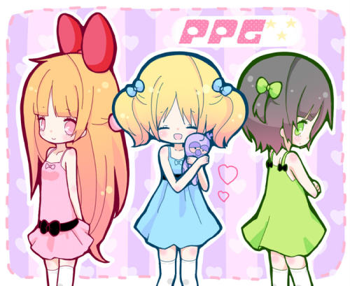 cartoonnetworkla:  Power Puff Girls by Maako  Luka x Rin x GUMI