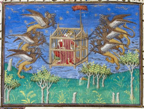 zerogate:  Detail of a miniature of Alexander the Great, in a cage, being carried aloft by griffins.
