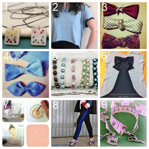 Roundup Nine DIY Jewelry, Fashion and Beauty Tutorials PART THREE. Roundup of this past week in case you missed anything. April 22nd - April 28th, 2012. DIY Embroidered Shrink Plastic Pendant Necklace (The Zen of Making) here. DIY Easy No Sew Crop Top (Clones & Clowns) here. DIY Bowties Made with Thrifted Silk Ties (thriftstyled) here. via likearabbithole DIY Thrifted Denim Jacket Sleeves Made Into Bow Ties (thriftstyled) here. via thriftstyled DIY Shamballa Inspired Bracelet (Fab You Bliss) here. DIY Red Valentino Bow Back Cotton Jersey T-Shirt (inspiration & realisation) here. DIY Body Shimmer Lotion (The Beauty Department) here. DIY Silk Colorblock Pants Inspired by Céline (inspiration & realisation) here. DIY Tape Measure Bracelet (Bacon Time with the Hungry Hungry Hypo) here.