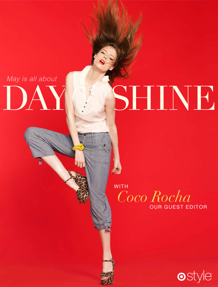 "Target Style + Coco RochaFor her cover shot, Coco chose to wear an 1800's-inspired ruffle top (""The Coco Ruffle""), a baby jean, leopard wedges, and a yellow necklace converted into a beaded bracelet all from Target."