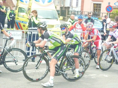 Tour de Romandie 2012 | Stage 3 Riders waiting to start in Montbeliard. (Photograph by @hjeanney | Scoreboard and Milestones)