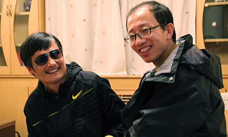 "Chen Guangcheng 'safe' in US embassy Blind campaigner evades about 100 guards to escape from six-year detention but fears grow for family and supporters A blind Chinese rights activist who made a daring escape from extrajudicial detention was on Friday under the protection of the US embassy in Beijing, according to a friend, as concerns were growing about possible retribution against his family and supporters. After more than six years of jail and house arrest, Chen Guangcheng was said to have fled under cover of darkness, evading eight checkpoints and close to 100 guards who have been watching his home in the Shandong province countryside. A photograph released on Friday night shows him with a friend and fellow activist, Hu Jia, who said Chen was under US protection. ""It is my understanding that Chen is in the safest place in China. That is the US embassy,"" said Hu. If confirmed, the incident could overshadow a planned trip to Beijing next week by the US secretary of state, Hillary Clinton, and treasury secretary, Timothy Geithner. It would be the second case this year of a high-profile figure seeking refuge at a US diplomatic office in China. In February, Chongqing police chief Wang Lijun fled to the US consulate in Chengdu claiming his life was threatened because of his investigation into the death of British businessman Neil Heywood. That incident led to a 36-hour standoff during which Chinese security personnel surrounded the consulate until Wang was turned over to an official from Beijing. The US government neither confirmed nor denied claims that Chen was seeking asylum. An embassy spokesman, Richard Buangan, told reporters that ""he did not have any information at this time.""The British embassy also said Chen's whereabouts were a mystery. ""We have followed Chen Guangcheng's case over a long period of time and have made representations publicly and privately to Chinese authorities. We have seen today's reports and will be following events closely,"" said a spokesman.The mainstream Chinese media had not reported the escape, but in a video recording apparently made after his release, Chen issued an open call for the prime minister, Wen Jiabao, to investigate his case. Pictured: Blind Chinese activist Chen Guangcheng and friend and fellow activist Hu Jia taken at an undisclosed location this month. Chen, an inspirational figure in China's rights movement, slipped away from his well-guarded village this week. Photograph: AP"