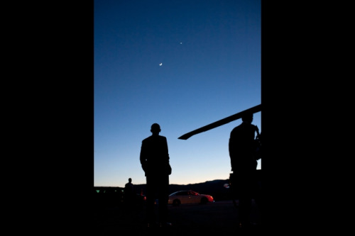 kqedscience:  President Obama Catches View of Dazzling Venus and Moon