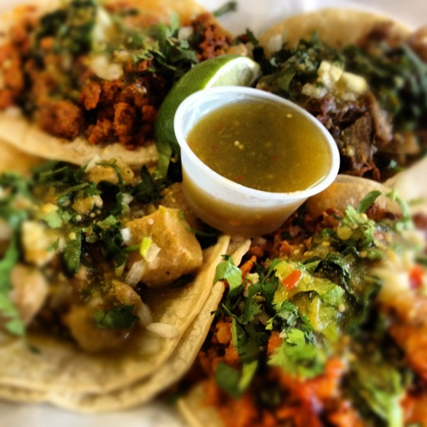 mexicanfoodporn:  Carnitas, chorizo, chile verde y pastor (Taken with instagram)