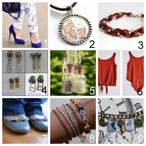 Roundup Nine DIY Jewelry and Fashion Tutorials PART FIVE. Roundup of this past week in case you missed anything. April 22nd - April 28th, 2012. DIY Sharpie Stained Lace Floral Jeans (Love…Maegan) here. DIY Map Pendant for Beginners (Intimate Weddings) here. DIY Leopard Print Rhinestone Bracelet (Studs and Pearls) here. DIY Inspiration Recycled Zipper Pull Earrings (Made by Suzana) here. DIY Crushed Rock Mini Bottle Necklaces (Know and Tell Crafts) here. via  rainbowsandunicornscrafts DIY Inspiration Ilana Kohn Crop Tee (lena corwin) here. DIY Zipper Ruffle Ballet Flats (Craftaholics Anonymous) here. DIY Seven Strand Woven Friendship Bracelet Using a Circular Cardboard Loom (Michael Ann Made) here. via rainbowsandunicornscrafts DIY Steampunk Style Shrink Plastic Charm Bracelet (Over the Crescent Moon) here.
