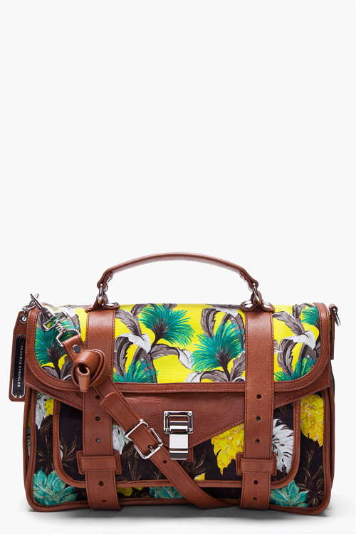 wantering:  Proenza Schouler Floral Yellow PS1 Medium Satchel (CAD $2,125) Found by A Haute Mess