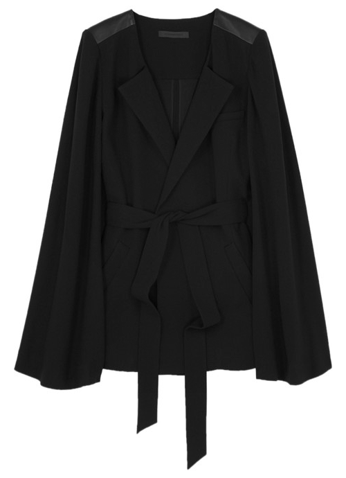 Alexander Wang Crepe Draped JacketAs worn by Irene Adler, seen here. Leather paneled shoulders. Detachable crepe belt. Draped sleeves.£400 / $650 Sold here at net-a-porter.com (Currently out of stock)