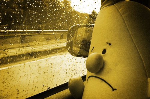 This is basically Nanners right now, all miserable and stuck in her car n shittt. LETS GIVE HER HUUUUGS.