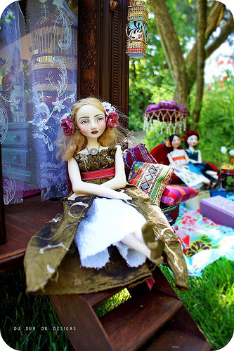My Bohemian Childhood  Doll and caravan