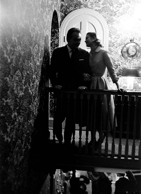 kellyandhepburn:  Prince Rainier III with actress Grace Kelly at the announcement of their engagement, December 1955.