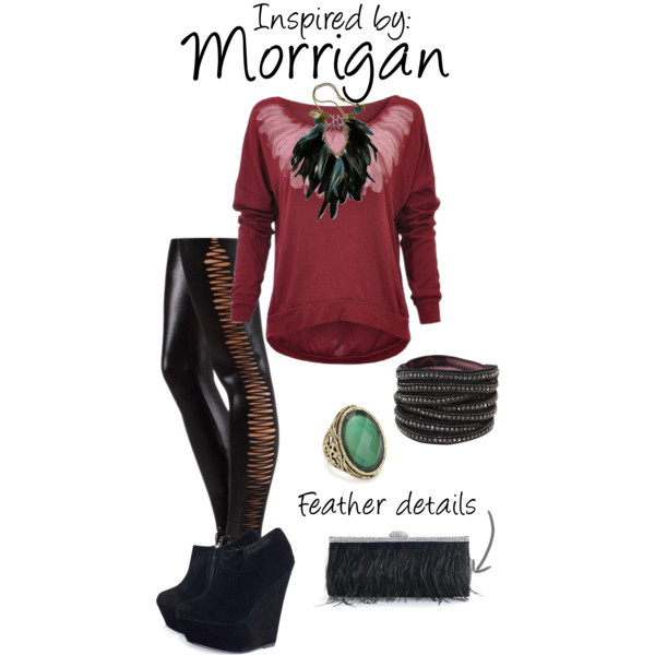 Morrigan (Dragon Age Series) by ladysnip3r featuring feather tops As per popular request, I present a Morrigan inspired outfit. I chose to do something a little more subtle, but still totally sexy and bad-ass. I chose to focus on the feathers on her armor and mimicked them throughout the outfit. (Reference Image)