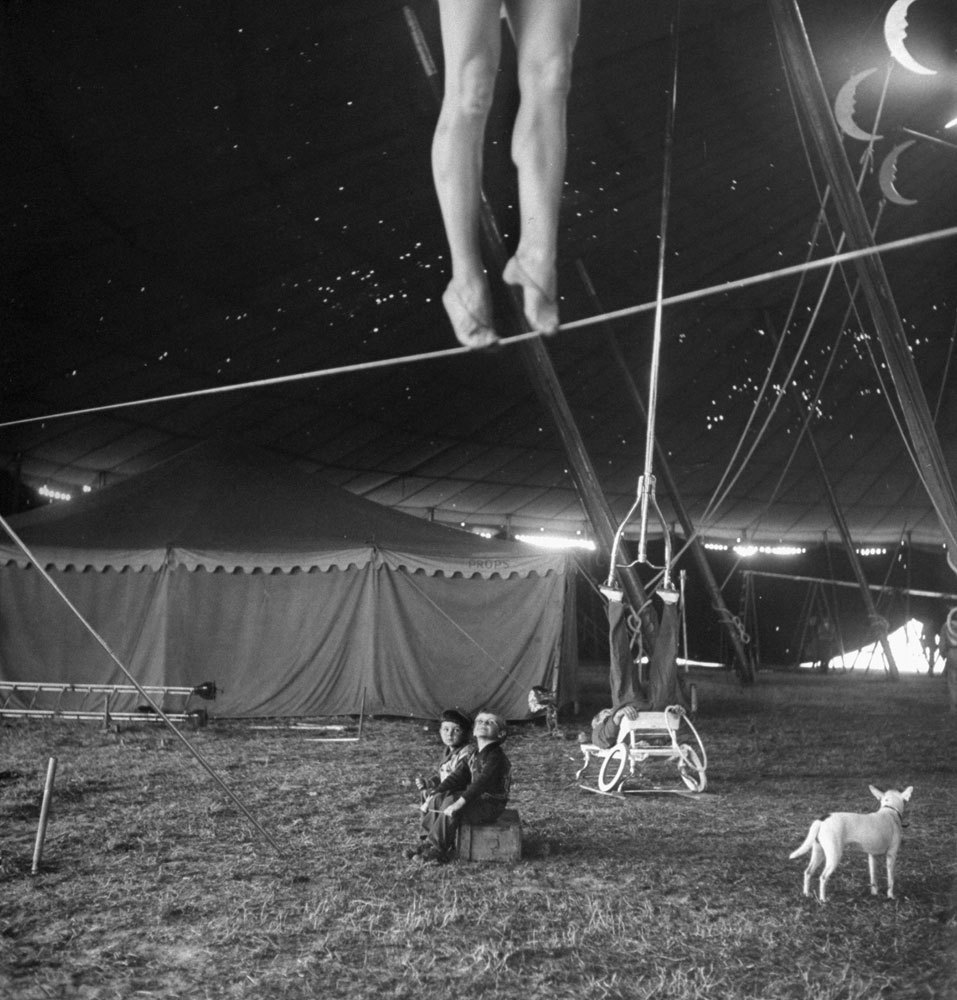 "life:  From a story on the Ringling Bros. Circus in the April 4, 1949, issue of LIFE. The caption for this picture: ""Nothing but circus all day every day is the happy fate of these two performers' tots, who sit around the big tent watching as the pretty Miss Lola practices on a tightwire and an acrobat balances an odd contraption on his feet.""See more photos by Nina Leen here.(Nina Leen—Time & Life Pictures/Getty Images)  If you click on the link, this photographer takes some really fun pictures of animals."