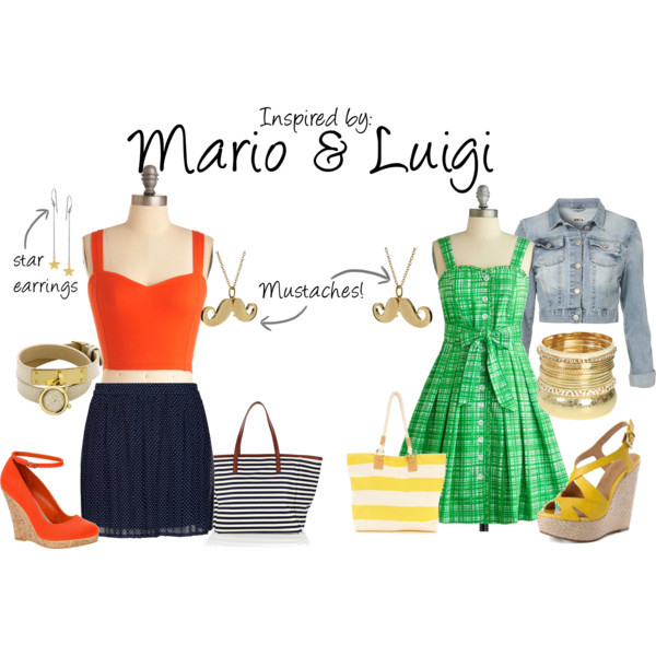 Mario & Luigi by ladysnip3r featuring tear drop earrings Inspired by the infamous Mario and Luigi, Nintendo's Super Brothers! I chose to do both characters a bit matchy, so that you and your friend can look totally awesome (I mean it really wouldn't be the same effect with just one of the brothers, am I right?). (Reference Image)