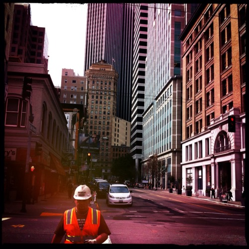 Construction worker downtown, San Francisco.
